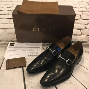 Gucci Men's Dress Loafers Horsebit Leather Shoes